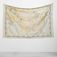 4040 Locust Vintage Map Tapestry- Neutral Multi One