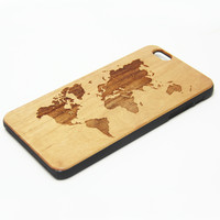 Retro World Map Natural Wood Engraved iPhone 6s Case iPhone 6s plus Cover iPhone 6 5s 5 Real Wooden Case