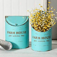 Farmhouse Kitchen Bins-Light Turquoise