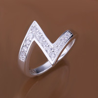 Gemston Z -shaped Silver Ring