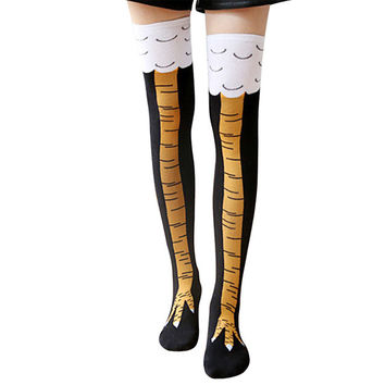 2017 Funny Gold on Black Chicken Socks Above The Knee