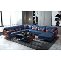 Modern Designer Leather Sofa with Chase