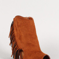 Suede Fringe Cut Out Peep Toe Bootie