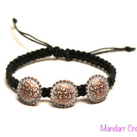 Metal Button Bracelet, Black Macrame Hemp Jewelry, Handmade Accessory, Gifts for Her, Adjustable Size, One of a Kind