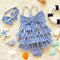 Bathing Children's Swimsuit Headband Stripe Baby Girl Swimwear Beach Clothes One-piece Baby Cake Layer Swimwear Cross Shoulder