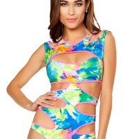 Tie Dye Printed Bodysuit with Multiple Cutout Details