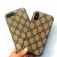 Gucci MCM IPhoneX full package phone case 7/8Plus mobile phone leather iphone6s with a sling shell.