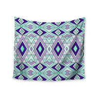 """Pom Graphic Design """"Gems"""" Purple Teal Wall Tapestry"""