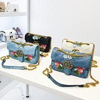 Women Fashion Embroidery Flower Quilted Metal Chain Single Shoulder Messenger Bag Denim Small Square Bag