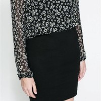 ZARA BLACK BODYCON DRESS WITH FLORAL PRINT SHEER TOP - SIZE SMALL