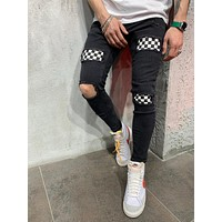 MENS STREET STYLE CHEQUERED JEANS 4631