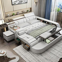 Modern Day Comfortable Smart Bed With Massager Stool and Storage