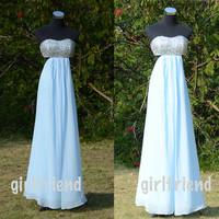 Sweetheart Light Blue Chiffon Sleeveless Floor-length Prom Dress, Homecoming Dress With Bow