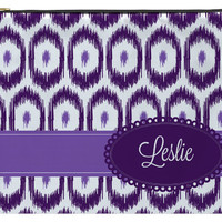 Personalized Zippered Pouch, Accessory Bag - Ikat Eggplant