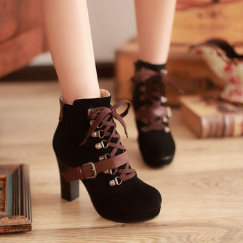 Buckle Lace Up Ankle Boots Chunky Heel Pumps Women 7062