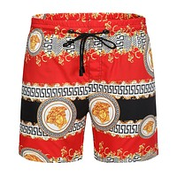 Versace Beach Shorts Contrast head print  Black Red Gold Shorts