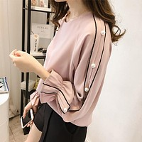 Chiffon Long Sleeves Top Blouse Shirt