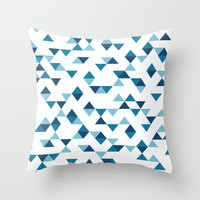 Triangles Blue Throw Pillow by Project M