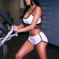 Summer Style 2016 Sexy Womens Sport Sets Sportwear Crop Tops and Shorts Two Piece Set Ladies Jogger Sport Suit Plus Size