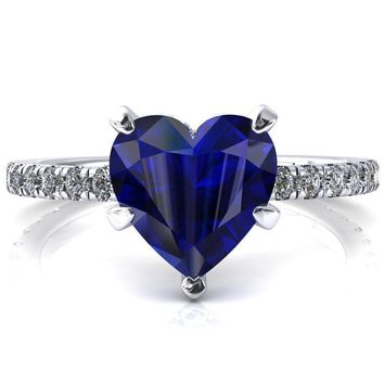 Sicili Heart Blue Sapphire 5 Prong 3/4 Micro Pave Diamond Engagement Ring