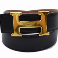 Authentic Hermes Belt Black X Brown Goldtone H 65 149918