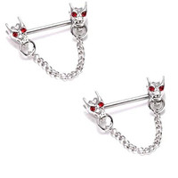 Body Accentz® Nipple Ring Bars Dragon Heads Body Jewelry Pair 14 gauge sold as pair