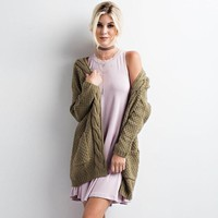 Long sleeve twist open stitch sweater cardigan Solid color casual