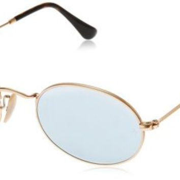 Ray-Ban RB3547N 001/30 Oval Gold Frame Silver Flash 51mm Lens Sunglasses