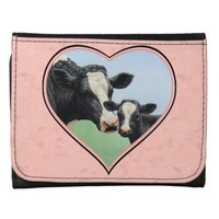 Holstein Cow and Calf Pink Heart Wallets