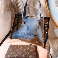 Alwayn LV Monogram printed women's shopping bag jelly bun and mother bag two-piece set