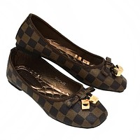 LV Louis Vuitton New fashion tartan bow-knot egg roll shoes women Coffee