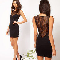 Women See-through Sleeveless Splicing Lace Party Clubbing Mini Dress Sexy Chic = 1945765316