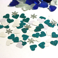 50 Hearts and Snowflakes Table Scatter - Turquoise, White and Silver Glitter Hearts and Snowflakes 1/2 inch