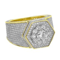Cluster Set Mens Ring Yellow Gold Over Sterling Silver Hexagon Face