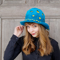 Unique felted hat, blue hat with fancy yellow dots and decorated with  bow of yellow-blue braid, designers Avant Garde hat, OOAK