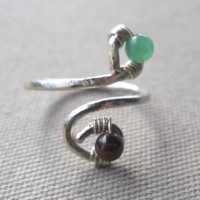 Garnet,Jade Wrapped Hammered Silver Wire Ring
