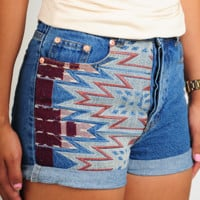 Down The Road Shorts: Denim/Multi