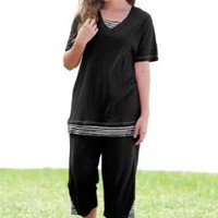 Women's Plus Size Set, Striped Inset Tunic And Capri