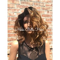 """Rooted Ombre Dark Auburn Lace front wig 12"""" Long BOB Bel Air"""