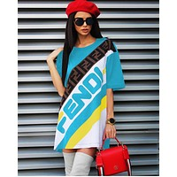 FENDI spring and summer letters sexy dress sexy casual dress T-shirt