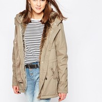 Only | Only Hooded Parka Jacket With Drawstring Waist at ASOS