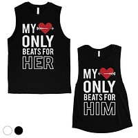 My Heart Beats For Her Him Cute Matching Couple Muscle Tank Top