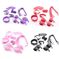 New 7-pcs Set Handcuffs Gag Nipple Clamps Whip Collar Erotic Toy Leather Fetish Sex Bondage Restraint Body Massager for Couples