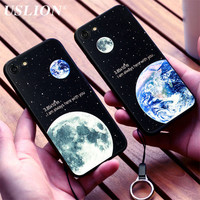 Cartoon Couple Phone Case For iPhone 7 7 Plus Stars Moon Lunar Eclipse Space Soft Silicon Rubber Phone Case Back Cover Coque