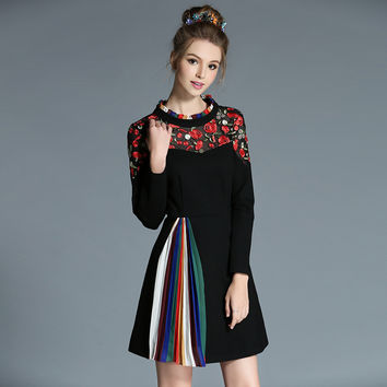 Accordion Inspired Women Autumn Winter Flower Embroidery Pleats Patchwork Long Sleeve Fit Flare Mini Dress l-5xl
