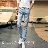 Men's Blue Skinny Slim Jeans Straight  Denim Pencil Pants