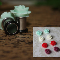 Marilyn roses SINGLE flare tunnels or plugs for gauged or stretched ears: Sizes 14g-00g