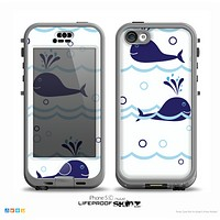 The Navy Blue Smiley Whales Skin for the iPhone 5c nüüd LifeProof Case