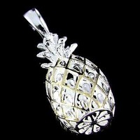STERLING SILVER 925 2 TONE YELLOW GOLD LARGE 3D HAWAIIAN PINEAPPLE PENDANT