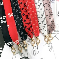LV Balenciaga Supreme Popular Personality Long Paragraph Wide Universal Silk Ribbon iPhone Mobile Phone Hanging Rope Key Chain Multicolor